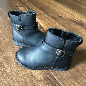 Little Girls Black Moto Boots